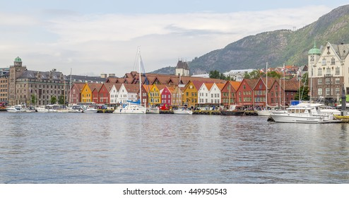 BERGEN, NORWAY. June 2016. Bryggen, a UNESCO World Cultural Heritage site since 1979, is a series of Hanseatic commercial buildings lining the eastern side of the fjord coming into Bergen, Norway.