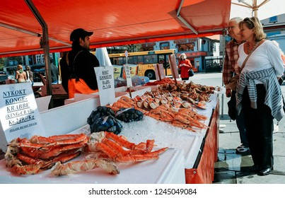 Bergen, Norway - May 04 2007: Fish Market (Fisketorget) with its abundance of fish and other seafood. A very popular object for tourists.