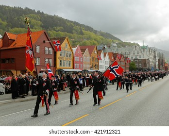 BERGEN / NORWAY - May 17, 2016: National day in Norway. Norwegians at traditional celebration and parade.