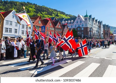 BERGEN / NORWAY - May 17, 2018: National day in Norway. Norwegians at traditional celebration and parade.