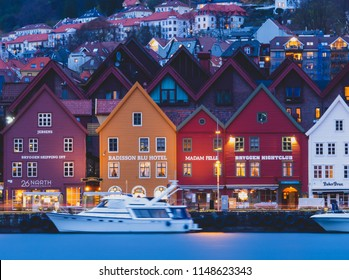 Bergen / Norway - May 2 2018: This is a photo of Colorful Shophouses in Bryggen wharf in Bergen, Norway.
