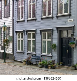 BERGEN, NORWAY - MAY, 2019: Bergen is a city and municipality in Hordaland on the west coast of Norway. The Central of Bergen, historic old buildings and cozy narrow streets.