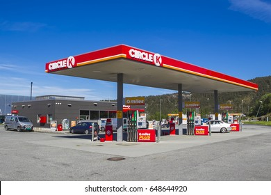 BERGEN, NORWAY - May 27, 2017: Cars are refueling at the gas station with brand Circle K Bergen, Norway.