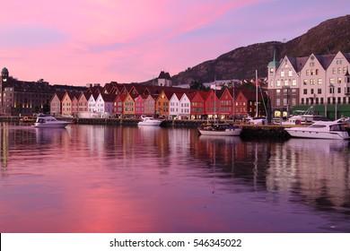 Bergen, Norway - October 6, 2016: Historic Hanseatic houses on the harbor of Bergen, Norway in Scandinavia at sunset