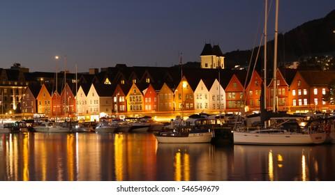 Bergen, Norway - October 6, 2016: Historic Hanseatic houses on the harbor of Bergen, Norway in Scandinavia in late evening light