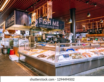 Bergen, Norway - Sep 9 2018: Fish Me, the largest store at fish market in Bergen.