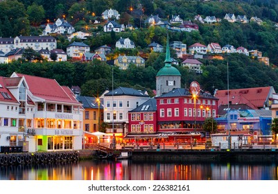 BERGEN, NORWAY -SEPT 25: Historical buildings on the street in Bergen on Sept 25, 2014, Norway