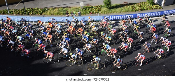 Bergen, Norway - September 23, 2017 - The women's peloton races through Bergen, Norway at the UCI world professional cycling championships.