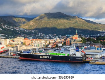 BERGEN, NORWAY - SEPTEMBER 7.  A view of the ro-ro cargo ship Marfret Niolon docked in the port of Bergen in Norway on September 7, 2015.  The ship is owned by Marfret shipping company.