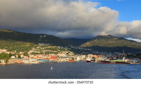 BERGEN, NORWAY - SEPTEMBER 7.  A view of the city of Bergen in Norway on September 7, 2015.  The funicular railway can be seen climbing Mount Floyen above the city.