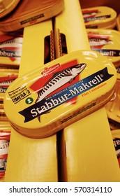 BERGEN, NORWAY - SEPTEMBER 9, 2014: Mackerels canned food, Rema 1000, supermarket
