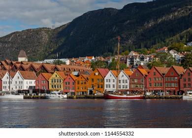 Bergen, Norway. View of historical buildings in Bryggen- Hanseatic wharf in Bergen, Norway. UNESCO World Heritage Site 20-09-2013