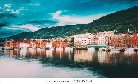 Bergen, Norway. View Of Historical Buildings Houses In Bryggen - Hanseatic Wharf In Bergen, Norway. UNESCO World Heritage Site. Famous Landmark. Destination Scenic