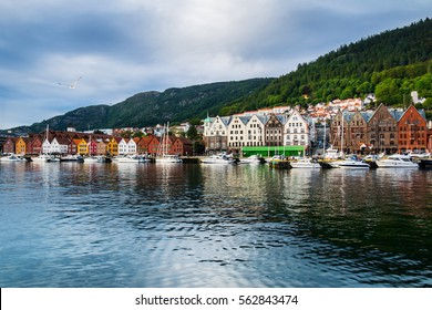 Bergen, Norway. View of historical buildings in Bryggen- Hanseatic wharf in Bergen, Norway. UNESCO World Heritage Site.
