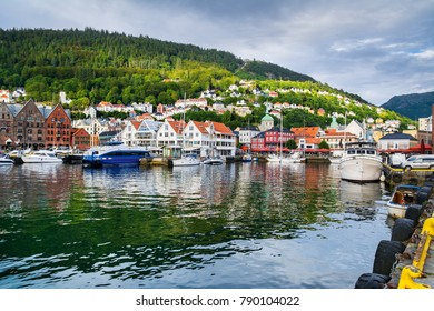 Bergen, Norway. View of historical buildings in Bryggen- Hanseatic wharf in Bergen, Norway. UNESCO World Heritage Site. Artistic picture. Beauty world.