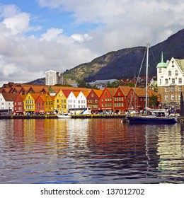 BERGEN, NORWAY: Waterfront Bryggen in Bergen. Bryggen is a number of historical buildings. Bryggen is entered in the UNESCO list for World Cultural Heritage sites.