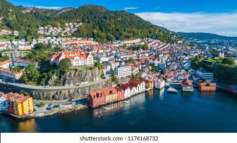 Bergen old town aerial view. Bergen, Norway.