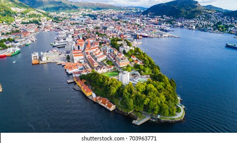 Bergen old town aerial view. Bergen, Norway.