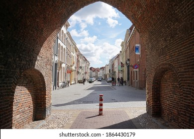 Bergen op Zoom, The Netherlands - August 11, 2018; View from under the prison gate to the center of Bergen op Zoom