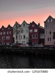 BERGEN OP ZOOM, THE NETHERLANDS- JANUARY 18, 2019: Winter sunset over the canals of Bergen op Zoom