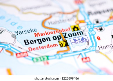 Bergen op Zoom. Netherlands on a map