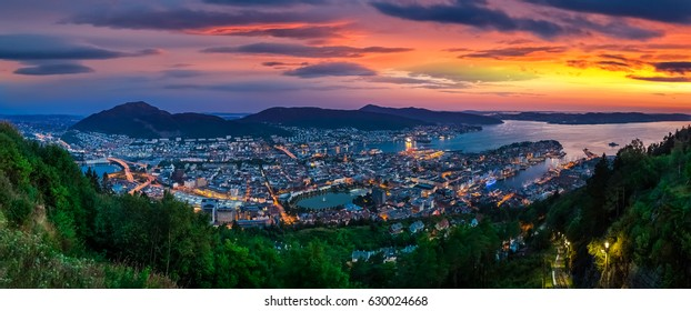 Bergen Panoramic. View from mount Floyen in Bergen.