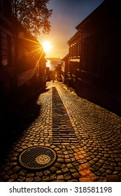 Bergen Street at sunset Norway