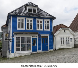 BERGEN,NORWAY ,29-07-2017:typical blue house in Bergen on 29-07-2017: Bergen is famous of the old city with houses like this and the fish market