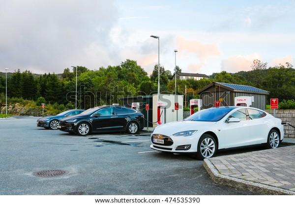 BERGEN/NORWAY - August 27, 2016: Modern Tesla electric car Supercharger in Bergen