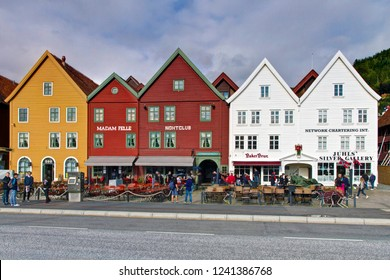 Bergen/Norway-August 21, 2014:Tourists and shops along the Bryggen Hanseatic Wharf of Bergen
