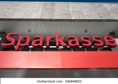 BERGNEUSTADT, GERMANY  October 30, 2016: entrance of a German Sparkasse (Savings Bank). Based on OECD studies, the German public banking system had a share of 40% of total banking assets in Germany.