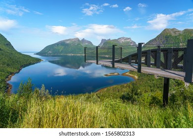 Bergsbotn utsiktsplattform with an amazing view of the Bergsfjord, a 44-meter long platform and viewpoint located on the northwestern edge of the Senja island in northern Norway.