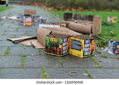 BERGSCHENHOEK, THE NETHERLANDS - JANUARI 1, 2019: New Years aftermath. Playgrounds and streets full of empty cardboard firework packages and shells.