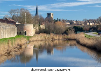 Bergues / France - 02/21/2019: The Ramparts and Saint Winoc Abbey