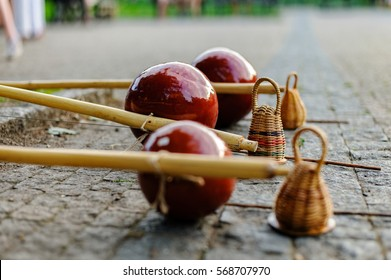 The berimbau, capoeira dancers, musical instrument
