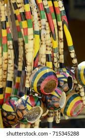 Berimbau, musical instrument, capoeira dancers. Pelourinho, Salvador, Bahia, Brazil.