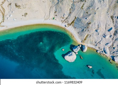 Beritnica beach, Pag, Croatia - August 4 2018: Beritnica beach is one of the wildest beach in Metajna, Pag Island