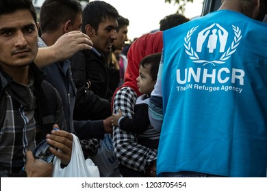 BERKASOVO, SERBIA - OCTOBER 10, 2015: Worker of the UNHCR, the United Nations Agency for refugees, standing in front of a crowd of refugees, including a baby, at the border between Serbia and Croatia