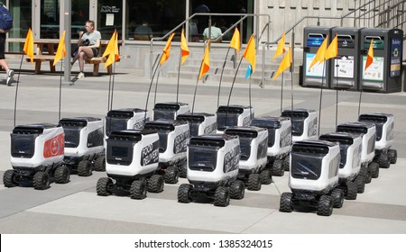 Berkeley, CA - April 18, 2019 - Kiwibot displays its autonomous robots at the Tech Crunch TC Sessions: Robotics + AI. Event held on the University of Berkeley campus, west of Lower Sproul Plaza in fro