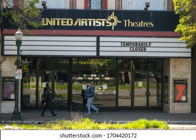 Berkeley, Ca- April, 2020- Temporary closure of United Arts, a local movie theater in downtown Berkeley. Shelter in place order due to the Coronavirus.