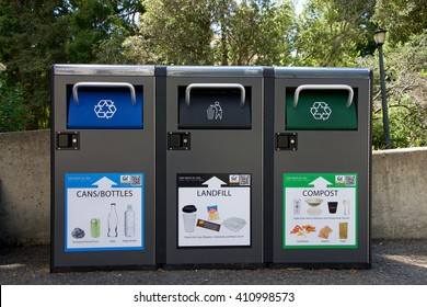 Berkeley, CA - April 24, 2016: Recycling, Landfill and Compost garbage bins on UC Berkeley campus. University of California Berkeley is involved in many innovative projects aimed at reducing waste.