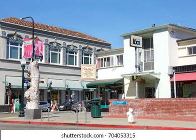 Berkeley, CA - August 27, 2017: BART station entrance, corner of Shattuck and Addison. Bay Area Rapid Transit is a public transportation elevated and subway system serving the San Francisco Bay Area.
