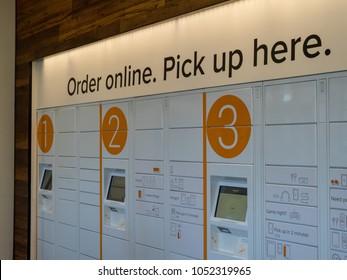 BERKELEY, CA - MARCH 17, 2018: An empty Amazon Locker location inside the Amazon Store at the University of California, Berkeley's student union.