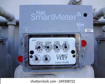 BERKELEY, CA - MAY 28: PG&E (utility co) electricity SmartMeters on residential buildings, Meters monitor energy quality and provide real time energy consumption data. MAY 28, 2011.