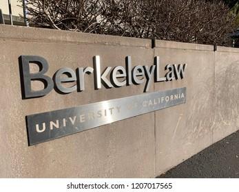 Berkeley CA October 15 2018: University of California Berkley Law campus entrance sign