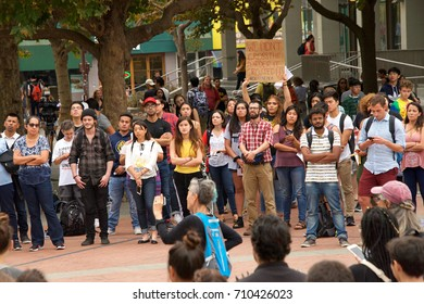Berkeley, CA - September 05, 2017: Unidentified participants protesting Trump rescinding DACA,. Approximately 200 demonstrators gathered in UC Berkeley's Sproul Plaza and marched down Telegraph Avenue