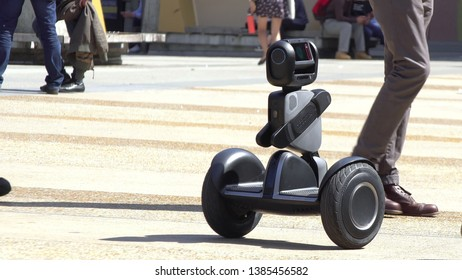Berkeley, CA / USA - April 18, 2019 - Segway displays Loomo a personal smart vehicle at the Tech Crunch TC Sessions: Robotics + AI. Event held on the UC Berkeley campus in front of Zellerbach Hall.