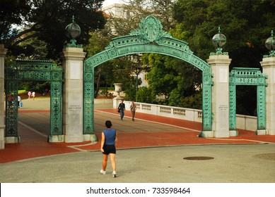 Berkeley, CA, USA August 19, 2008 A student walks through Sather Gates, entering the University of California Berkeley