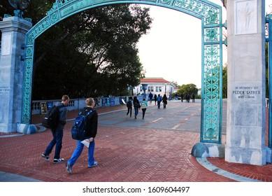 Berkeley, CA, USA February 21 Students walk through the historic Sather Gates, entering the University of California Berkeley campus