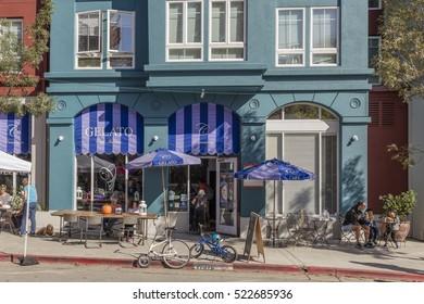 BERKELEY, CA, USA; OCT 23, 2016: Gelato Restaurant in Berkeley on Shattuck Avenue  with open Storefronts.